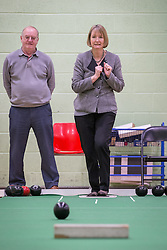 © Licensed to London News Pictures . 27/01/2014 . Manchester , UK . The Deputy Leader of the Labour Harriet Harman bowling in the gym at the launch of Mike Kane's campaign for the Wythenshawe East and Sale by-election at the Woodhouse Park Lifestyle Centre in Wythenshawe , today (27th January 2014) . Photo credit : Joel Goodman/LNP