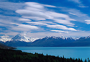Lake Pukaki, Mount Cook and a beautiful sky of clouds. southisland, new zealand.1999