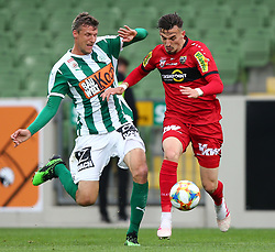 04.05.2019, Pappelstadion, Mattersburg, AUT, 1. FBL, SV Mattersburg vs Cashpoint SCR Altach, Qualifikationsgruppe, 29. Spieltag, im Bild v.l. Alois Hoeller (SV Mattersburg) und Mergim Berisha (Cashpoint SCR Altach) // during the tipico Bundesliga qualification group 29th round match between SV Mattersburg and Cashpoint SCR Altach at the Pappelstadion in Mattersburg, Austria on 2019/05/04. EXPA Pictures © 2019, PhotoCredit: EXPA/ Thomas Haumer