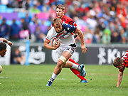USA player Ben Pinkelman wins the ball during the restart and goes all the way to score a try in the game USA vs Wales during the Cathay Pacific/HSBC Hong Kong Sevens festival at the Hong Kong Stadium, So Kon Po, Hong Kong. on 7/04/2018. Picture by Ian  Muir.