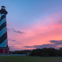 Cape Hatteras Lighthouse at sunset. Cape Hatteras National Seashore, North Carolina.