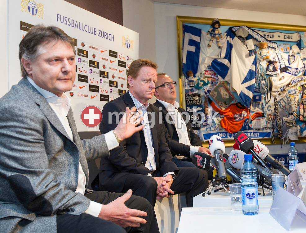 (L-R) FC Zuerich (FCZ) president Ancillo Canepa presents Rolf FRINGER as new head coach of Swiss National League A soccer club FC Zuerich while sporting director Fredy Bickel looks on at the club's museum in Zurich, Switzerland, Friday, March 30, 2012. (Photo by Patrick B. Kraemer / MAGICPBK)