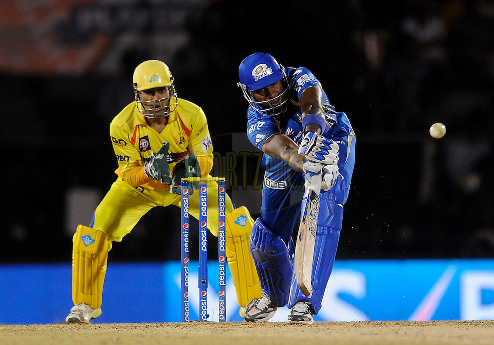 Kieron Pollard of the Mumbai Indians bats during the eliminator match of the Pepsi Indian Premier League Season 2014 between the Chennai Superkings and the Mumbai Indians held at the Brabourne Stadium, Mumbai, India on the 28th May  2014<br /> <br /> Photo by Pal PIllai / IPL / SPORTZPICS<br /> <br /> <br /> <br /> Image use subject to terms and conditions which can be found here:  http://sportzpics.photoshelter.com/gallery/Pepsi-IPL-Image-terms-and-conditions/G00004VW1IVJ.gB0/C0000TScjhBM6ikg