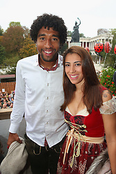 05.10.2014, Theresienwiese, München, GER, 1. FBL, FC Bayern Muenchen am Oktoberfest, im Bild Dante of FC Bayern Muenchen and Joselina attend with the Oktoberfest beer festival at Kaefer Wiesnschaenke tent at Theresienwiese on 2014/10/05. EXPA Pictures © 2014, PhotoCredit: EXPA/ Eibner-Pressefoto/ Pool<br /> <br /> *****ATTENTION - OUT of GER*****
