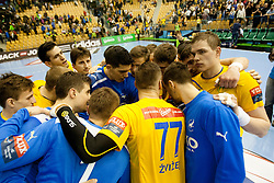 Players of RK Celje Pivovarna Lasko after handball match between RK Celje Pivovarna Lasko and SG Flensburg-Handewitt in the last sixteen of EHF Champions League 2013/14 on March 23, 2014 in Dvorana Zlatorog, Celje, Slovenia. Photo by Urban Urbanc / Sportida