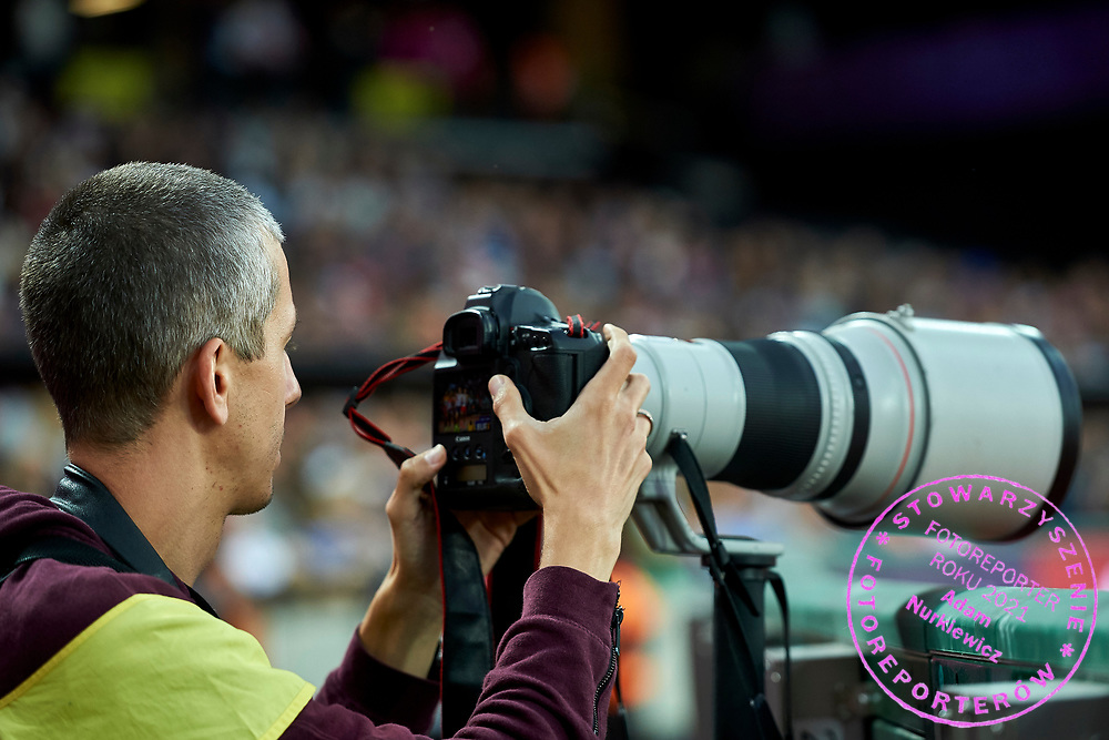 Great Britain, London - 2017 August 11: Photographer Andrzej Banas (Polska Presse Publisher) works during IAAF World Championships London 2017 Day 8 at London Stadium on August 11, 2017 in London, Great Britain.<br /> <br /> Mandatory credit:<br /> Photo by &copy; Adam Nurkiewicz<br /> <br /> Adam Nurkiewicz declares that he has no rights to the image of people at the photographs of his authorship.<br /> <br /> Picture also available in RAW (NEF) or TIFF format on special request.<br /> <br /> Any editorial, commercial or promotional use requires written permission from the author of image.