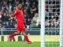 12.05.2013, Craven Cottage, London, ENG, Premier League, FC Fulham vs FC Liverpool, 37. Runde, im Bild Liverpool's Daniel Sturridge celebrates scoring the third goal against Fulham, his hat-trick, during during the English Premier League 37th round match between Fulham FC and Liverpool FC at the Craven Cottage, London, Great Britain on 2013/05/12. EXPA Pictures © 2013, PhotoCredit: EXPA/ Propagandaphoto/ David Rawcliffe..***** ATTENTION - OUT OF ENG, GBR, UK *****