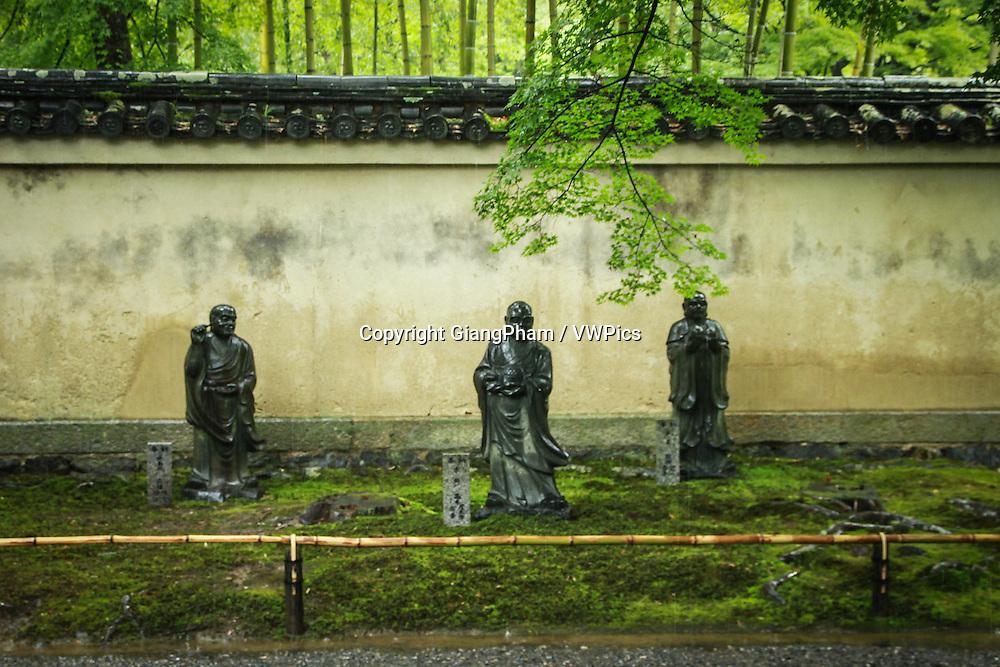 Statues in Zen Garden in Kyoto Prefectures, Japan