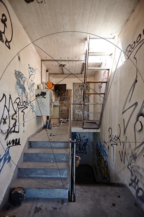 DLG-siloen Nordhavn, Unionkul, ombygning af kornsilo til luksuslejligheder, Klaus Kastbjerg, By & Havns udstillingslokaler under renovering, trappeopgang, grafitti