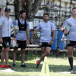 Etienne Oosthuizen with AB Zondagh Rowan Gouws Cobus Reinach Jean-Luc du Preez and Ryan Strudwick (Assistant Coach) of the Cell C Sharks during The Cell C Sharks High CNS Rugby / Skills / Field Conditioning KP2 Pre Season training, session at Growthpoint Kings Park in Durban, South Africa. December 15 2016 (Photo by Steve Haag)<br />