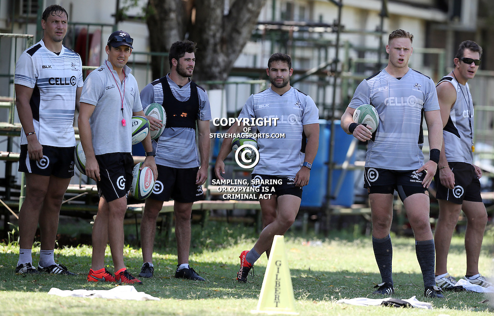 Etienne Oosthuizen with AB Zondagh Rowan Gouws Cobus Reinach Jean-Luc du Preez and Ryan Strudwick (Assistant Coach) of the Cell C Sharks during The Cell C Sharks High CNS Rugby / Skills / Field Conditioning KP2 Pre Season training, session at Growthpoint Kings Park in Durban, South Africa. December 15 2016 (Photo by Steve Haag)<br /> <br /> images for social media must have consent from Steve Haag