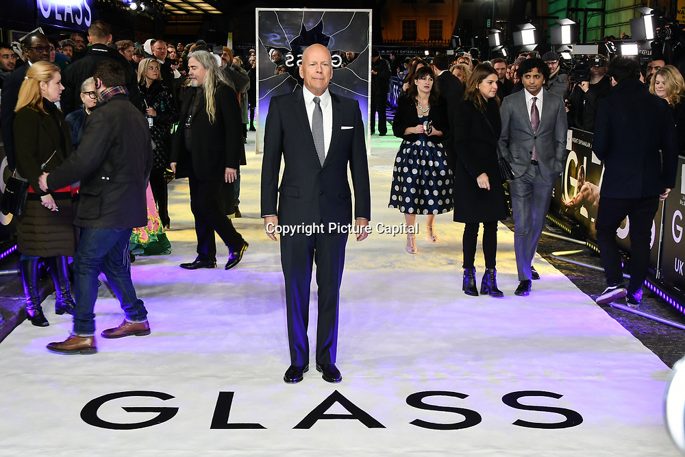 Bruce Willis attends Premiere of M. Night Shyamalan's superhero thriller Glass, which follows Unbreakable and Split on 9 January 2019, London, UK.
