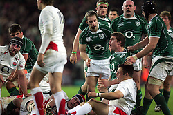 Brian O'Driscoll celebrates scoring a try for Ireland during the RBS Six Nations match between Ireland v England, Croke Park, Dublin, Saturday 28th February 2009.