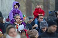 Goshen, New York - People enjoy the Christmas tree lighting ceremony in downtown Goshen on Dec. 7, 2014.