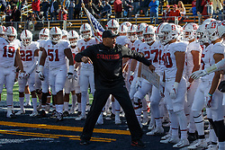 BERKELEY, CA - DECEMBER 01:  Head coach David Shaw of the Stanford Cardinal leads his team on to the field before the game against the California Golden Bears at California Memorial Stadium on December 1, 2018 in Berkeley, California. (Photo by Jason O. Watson/Getty Images) *** Local Caption *** David Shaw