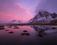 Sunrise at Hvalnes, Mount Eystrahorn in background. East Iceland.