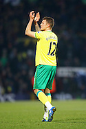 Picture by Paul Chesterton/Focus Images Ltd.  07904 640267.04/02/12.Goalscorer Anthony Pilkington of Norwich applauds the fans at the end of the Barclays Premier League match at Carrow Road stadium, Norwich.