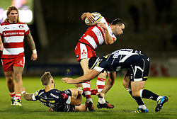 Matt Scott of Gloucester Rugby is tackled - Mandatory by-line: Matt McNulty/JMP - 16/09/2016 - RUGBY - Heywood Road Stadium - Sale, England - Sale Sharks v Gloucester Rugby - Aviva Premiership