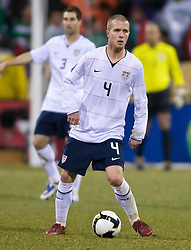 United States midfielder Michael Bradley (4).  The United States men's soccer team defeated the Mexican national team 2-0 in CONCACAF final group qualifying for the 2010 World Cup at Columbus Crew Stadium in Columbus, Ohio on February 11, 2009.