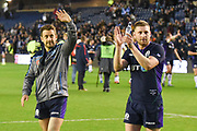 Greig Laidlaw and Finn Russell applaud home crowd after winnnig the 2018 Autumn Test match between Scotland and Fiji at Murrayfield, Edinburgh, Scotland on 10 November 2018.