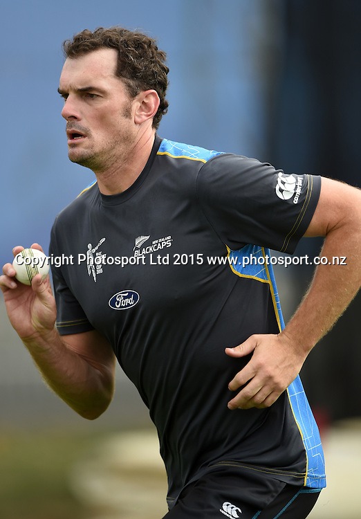 New Zealand bowler Kyle Mills during training at Eden Park in Auckland ahead of the semi final Cricket World Cup match against South Africa tomorrow. Monday 23 March 2015. Copyright photo: Andrew Cornaga / www.photosport.co.nz