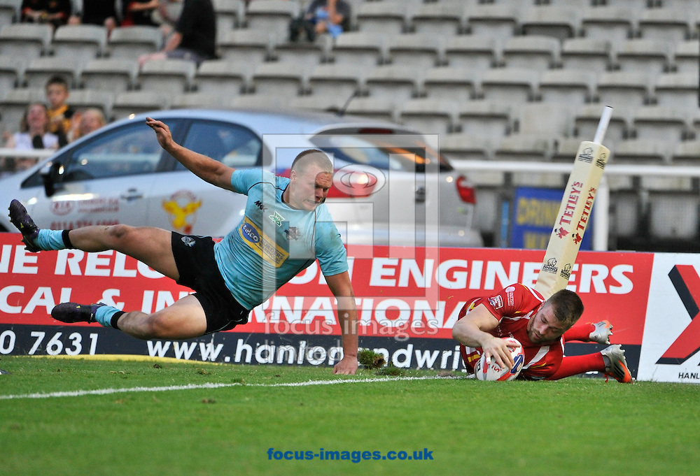 Picture by Richard Land/Focus Images Ltd +44 7713 507003<br /> 12/07/2013<br /> Scott Turner of Sheffield Eagles is denied a try by the video referee as he puts a foot in touch in the act of scoring during the Tetley's Challenge Cup match at Don Valley Stadium, Sheffield .