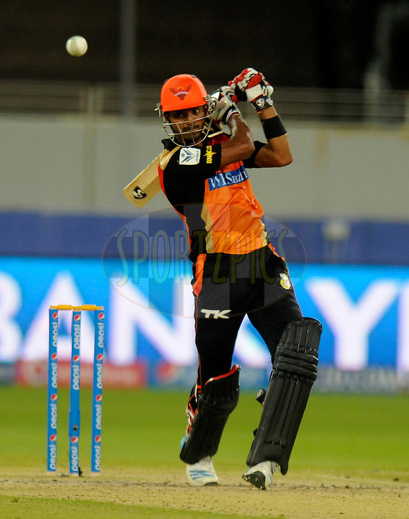K.L Rahul of the Sunrisers Hyderabad bats during match 20 of the Pepsi Indian Premier League Season 2014 between the Mumbai Indians and the Sunrisers Hyderabad held at the Dubai International Stadium, Dubai, United Arab Emirates on the 30th April 2014<br /> <br /> Photo by Pal Pillia / IPL / SPORTZPICS