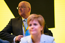 Edinburgh, Scotland, UK. 27 April, 2019. SNP ( Scottish National Party) Spring Conference takes place at the EICC ( Edinburgh International Conference Centre) in Edinburgh. Pictured; First Minister Nicola Sturgeon and her husband SNP CEO Peter Murrell
