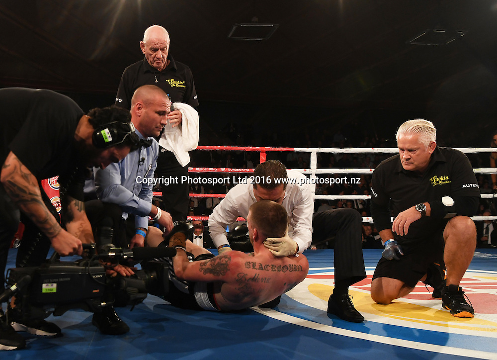 Joe Blackbourn recieves medical attention by Doctor Dave Renata. Undercard. Burger King Road to the Title by Duco Boxing. Saturday 21 May 2016. Vodafone Events Centre, Auckland, New Zealand. © Copyright Photo: Andrew Cornaga / www.photosport.nz