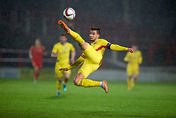 WREXHAM, WALES - Tuesday, November 17, 2015: Romania's captain Deian Boldor in action against Wales during the UEFA Under-21 Championship Qualifying Group 5 match at the Racecourse Ground. (Pic by David Rawcliffe/Propaganda)