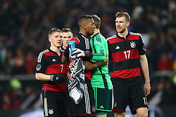 05.03.2014, Mercedes Benz Arena, Stuttgart, GER, Testspiel, Deutschland vs Chile, im Bild Bastian Schweinsteiger (Deutschland), Jerome Boateng (Deutschland), Manuel Neuer (Deutschland), Per Mertesacker (Deutschland) feiern den Sieg, Jubel, Freude, Emotionen // during the International Friendly match between Germany and Chile at the Mercedes Benz Arena in Stuttgart, Germany on 2014/03/05. EXPA Pictures &copy; 2014, PhotoCredit: EXPA/ Eibner-Pressefoto/ Neis<br /> <br /> *****ATTENTION - OUT of GER*****