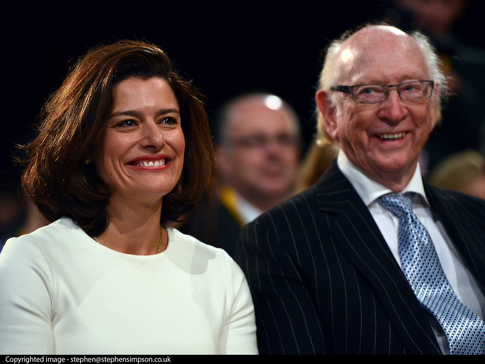 © Licensed to London News Pictures. 26/09/2012. Brighton, UK Miriam Gonlazez Durantez sits with Maurice Reeves owner of Reeves carpet store that was burnt down during the London Riots. Deputy Prime Minister and leader of the Liberal Democrat Party, Nick Clegg, delivers his keynote speech at the Liberal Democrat Conference at the Brighton Centre in Brighton today 25th September 2012. Photo credit : Stephen Simpson/LNP