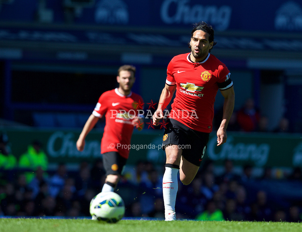 LIVERPOOL, ENGLAND - Sunday, April 26, 2015: Manchester United's Radamel Falcao in action against Everton during the Premier League match at Goodison Park. (Pic by David Rawcliffe/Propaganda)