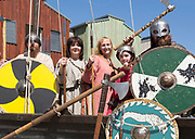 Viking warrior re-enactors with weapons, Sprit of Beowulf event, Woodbridge, Suffolk, England, UK - 5th May 2018
