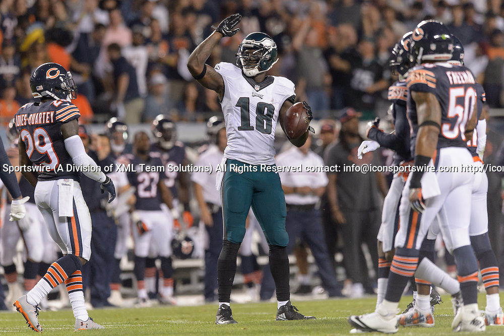 19 September 2016: Philadelphia Eagles Wide Receiver Dorial Green-Beckham (18) [20414] celebrates a first down after a reception during an NFL football game between the Philadelphia Eagles and the Chicago Bears at Solider Field in Chicago, IL. (Photo by Daniel Bartel/Icon Sportswire)