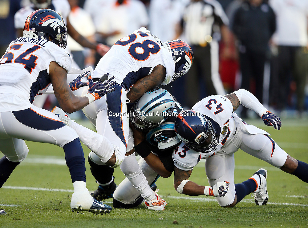 Carolina Panthers quarterback Cam Newton (1) gets gang tackled by Denver Broncos outside linebacker Von Miller (58) and Denver Broncos strong safety T.J. Ward (43) as Newton scrambles for a second quarter gain of 14 yards, augmented by a 15 yard roughing penalty for a total gain of 29 yards, to the Panthers 49 yard line during the NFL Super Bowl 50 football game against the Denver Broncos on Sunday, Feb. 7, 2016 in Santa Clara, Calif. The Broncos won the game 24-10. (©Paul Anthony Spinelli)