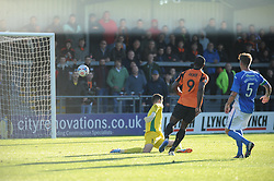 Barnets John Akinde beats Eastleighs Keeper but the ball goes over the Crossbar, Barnet v Eastleigh, Vanarama Conference, Saturday 4th October 2014