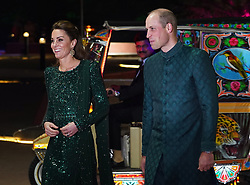 The Duke and Duchess of Cambridge arrive for a reception hosted by the British High Commissioner to Pakistan Thomas Drew CMG at the National Monument in Islamabad during the second day of the royal visit to Pakistan.
