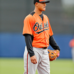 Mar 2, 2013; Port Charlotte, FL, USA; Baltimore Orioles third baseman Manny Machado (13) during a spring training game against the Tampa Bay Rays at Charlotte Sports Park. Mandatory Credit: Derick E. Hingle-USA TODAY Sports