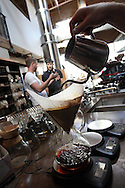 Justin Morrison, co-owner of Sightglass Coffee Bar and Roastery on Seventh Street in San Francisco, CA, makes a pot of coffee on November 1, 2011.