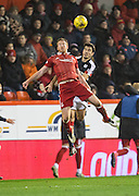 Dundee&rsquo;s Julen Etxabeguren and Aberdeen&rsquo;s Adam Rooney- Aberdeen v Dundee in the Ladbrokes Scottish Premiership at Pittodrie, Aberdeen - Photo: David Young, <br /> <br />  - &copy; David Young - www.davidyoungphoto.co.uk - email: davidyoungphoto@gmail.com