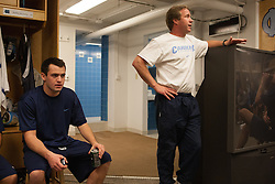 27 November 2007: North Carolina Tar Heels men's lacrosse Bobby McAuley and head coach John Haus after a weight lifting session in Chapel Hill, NC.