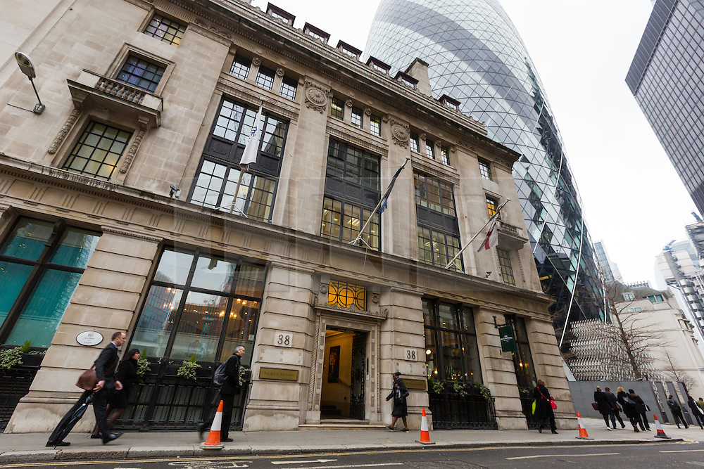 "© Licensed to London News Pictures. 10/03/2016. London, UK. The Baltic Exchange, opposite  the construction site of 22 Bishopsgate in London. If completed, the 62-storey, 295 meter glass and steel tower would become the City of London's tallest ever skyscraper, standing three times the height of Big Ben. But the scheme is under threat following ""right-to-light"" legal discussions with local residents, heritage groups and the owners of neighbouring properties including Tower 42, the Baltic Exchange and St Helen's church. Photo credit : Vickie Flores/LNP"