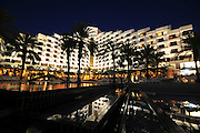 Israel, Eilat The King Solomon Hotel at the hotel strip at night