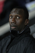 Burton Albion Manager Jimmy Floyd Hasselbaink during the Sky Bet League 1 match between Burton Albion and Millwall at the Pirelli Stadium, Burton upon Trent, England on 1 December 2015. Photo by Aaron Lupton.