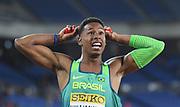 May 12, 2019; Yokohama, JPN; Paulo Andre Camilo de Oliveira celebrates after running the anchor leg on the Brazil 4 x 100m relay that won in 38.05 during the IAAF World Relays at International Stadium Yokohama.