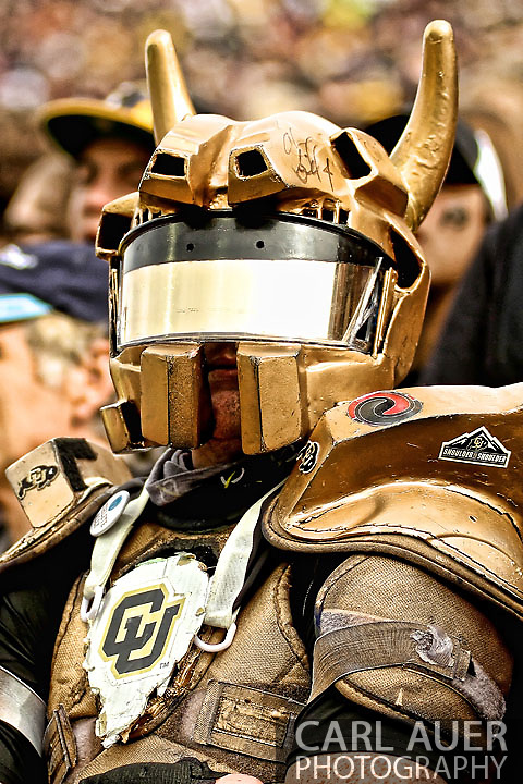 November 3, 2012:  A CU Buffalos fan in a modified HALO costume during the NCAA Football game between the Stanford Cardinal and the University of Colorado Buffalos at Folsom Field in Boulder, CO