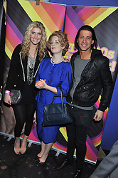Left to right, FRANCESCA HULL, Lady Thatcher lookalike and OLLIE LOCKE at a private screening of the film The Iron Lady hosted by nightclub Maggie's held at Cineworld, King's Road, London on 19th January 2012.