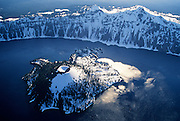 Aerial image of Wizard Island at Crater Lake National Park, Oregon, Pacific Northwest