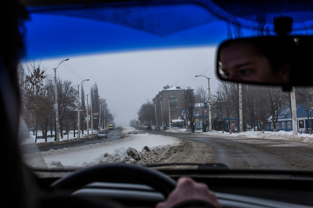 STAKHANOV, UKRAINE - DECEMBER 8, 2014: The road through Stakhanov, Ukraine. CREDIT: Brendan Hoffman for The New York Times